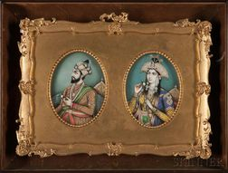 Pair of Miniature Portraits of Shah Jahan and Mumtaz Mahal